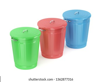 Three metal trash cans with different color on white background, 3D illustration