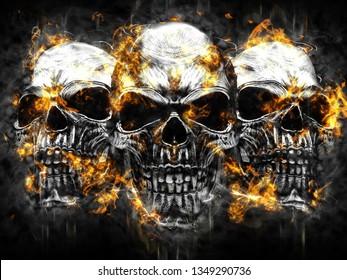 Three metal vampire skulls - burning fire and flames - 3D Illustration