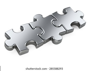 three metallic puzzle pieces. 3d illustration isolated on a white background