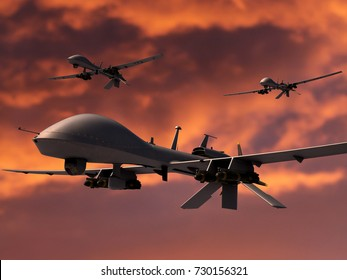Three military surveillance drones armed with hellfire missiles. Orange sky background. 3d render.