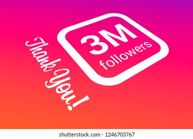 Three Million Followers, 3000000, 3M, Thank You, Number, Colored Background, Concept Image, 3D Illustration