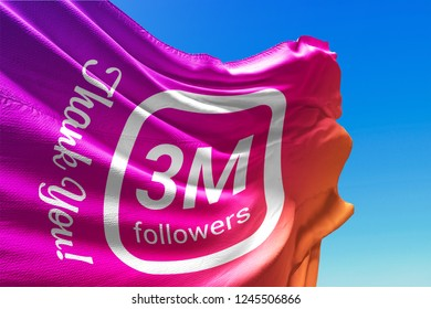 Three Million Followers, Flag Waving, Thank You, Number, 3000000, 3M, Colored Background, Blue Sky, Concept Image, 3D Illustration