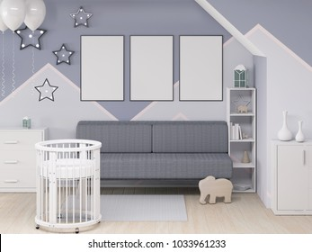 Three mock up poster frame in children bedroom with round crib 3d rendering