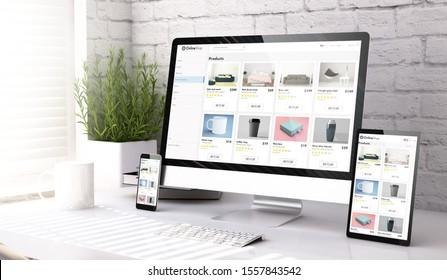 tres dispositivos de simulación que muestran el sitio web de una tienda en línea en un escritorio 3d representación