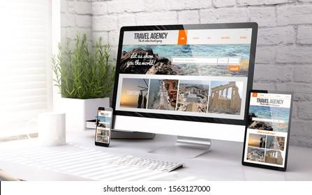 drei Modelle, die die Website von Reisebüros auf Desktop-3D-Darstellung zeigen