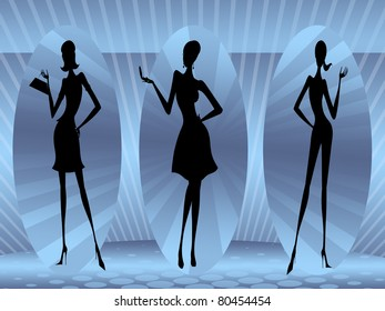 three models on blue background