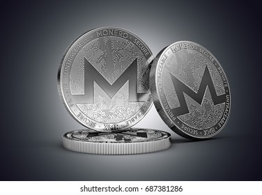 Three Monero cryptocurrency physical concept coin on gently lit dark background. 3D rendering