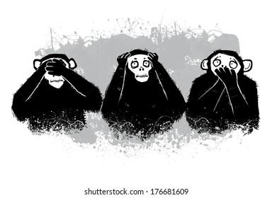Three Monkeys. Buddhist principle of rejection of evil see no evil, hear no evil, speak no evil. Isolation