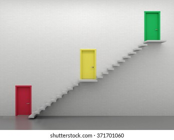 Three multi-colored door entrances at different levels, growth chart.