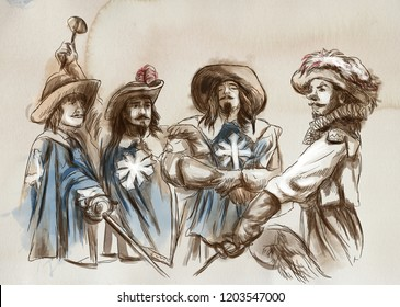 The Three Musketeers. An hand drawn illustration. Freehand drawing, painting.