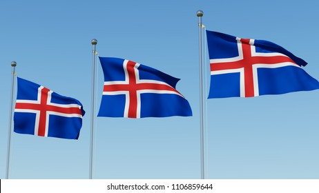 Three national flags of Iceland on flagpole against clear blue sky. 3D rendering 3D illustration.