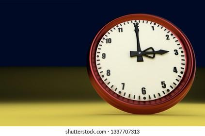 three o'clock big clock rush watch yellow background tax time 3D illustration