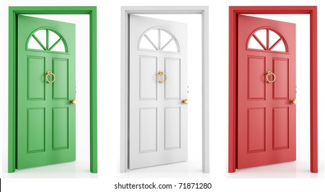 three open door with the colors of the italy flag