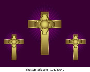 Three ornate gold crosses on a purple background with highlighted rays