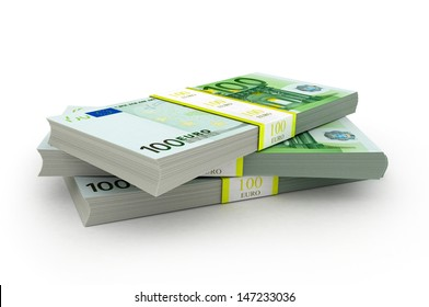 three packet of 100 Euro notes with bank wrapper - 10.000 Euros each, 3d