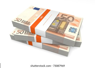 three packet of 50 Euro notes with bank wrapper - 5.000 Euros each