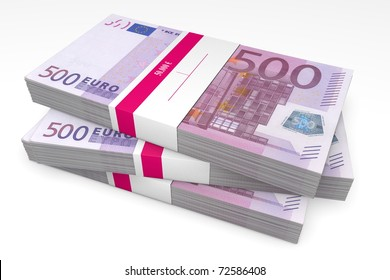 three packet of 500 Euro notes with bank wrapper - 50.000 Euros each
