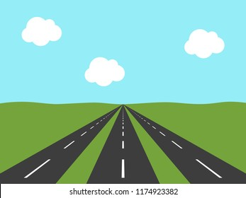 Three parallel asphalt roads going far away in green field to horizon and light blue sky. Perspective view. Opportunity concept. Flat design