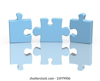 Three parts of a puzzle. Object over white