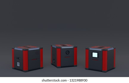 Three pedestals for display on dark background. Mock up of empty stage. Space to place your text or object. Cyberpunk. Si-fi. Dark and red metal. 3d render.