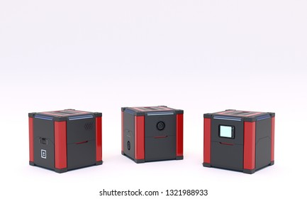 Three pedestals for display on white background. Mock up of empty stage. Space to place your text or object. Cyberpunk. Si-fi. Dark and red metal. 3d render.