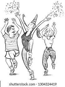 Three people exercising and celebrating