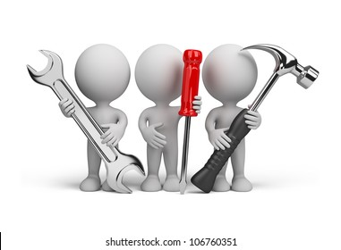 Three people with the tools in the hands of. 3d image. Isolated white background.