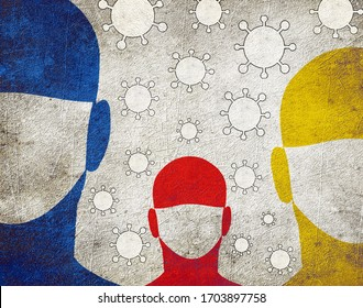 three persons with surgical mask
