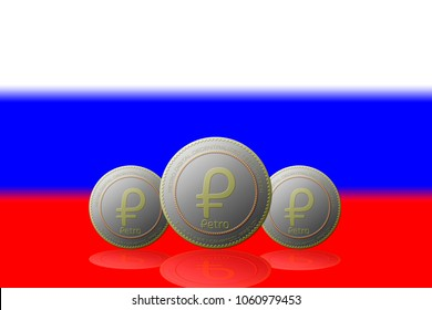 Three Petros cryptocurrency with Russia flag on background.