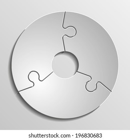 Three piece flat puzzle infographic round presentation. 3 step circle business diagram. Three section compare service banner. Vector illustration template shape . 3d Abstract Background