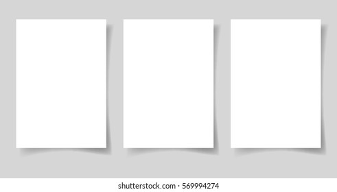 three pieces blank sheet of white paper A4 format with the shadow for your design, raster version illustration