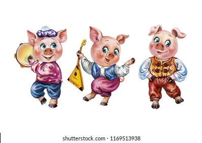 three pigs playing musical instruments and dancing, funny fairy animals, isolated characters on a white background