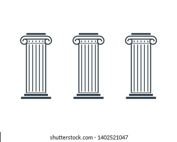 Three pillar diagram. Clipart image isolated on white background
