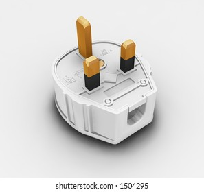 Three pin plug - 3D render