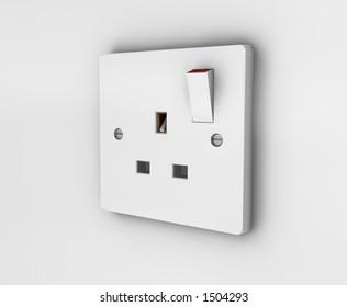 Three pin plug socket - 3D render