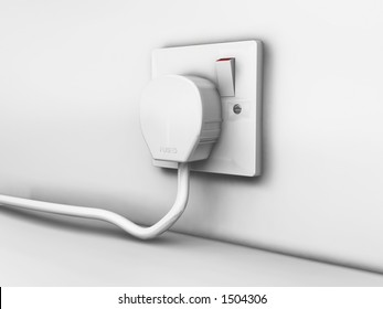 Three pin plug and socket - 3D render