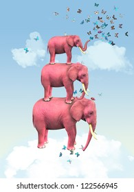 Three pink elephants in the clouds with butterflies. Illustration for a card or book cover or magazine. Computer graphics.