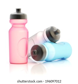 Three, pink, white and blue sport water bottle composition isolated over the white background