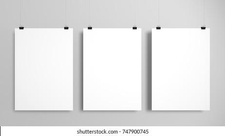 Three poster mockup set. 3D illustration.
