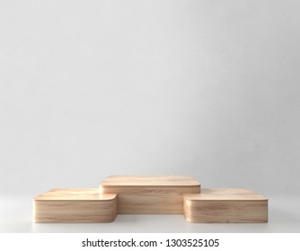 Three Product stand, Wooden Texture. 3D Rendering