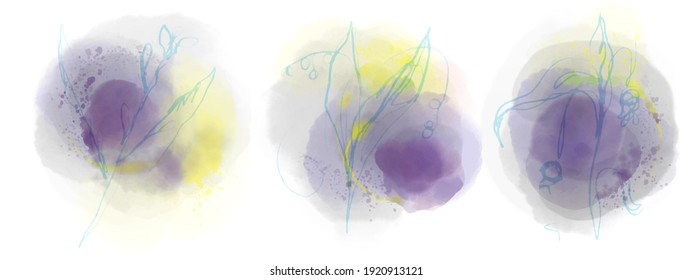 three purple watercolor paint backgrounds with yellow splashes and with images of spring and summer flowers and plants for social networks and presentations