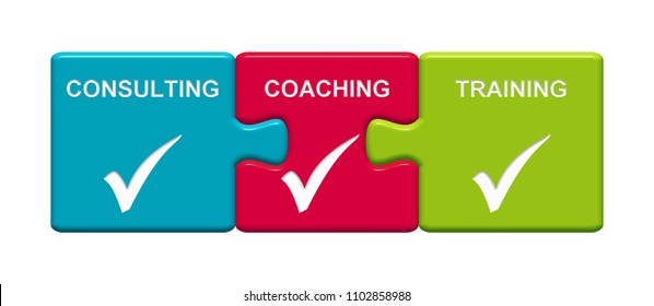 Three Puzzle Buttons with tick symbol showing Consulting Coaching and Training