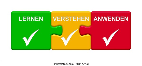 Three Puzzle Buttons with tick symbol showing Learn Understand Apply in german language