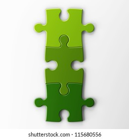 three puzzle pieces with clipping path