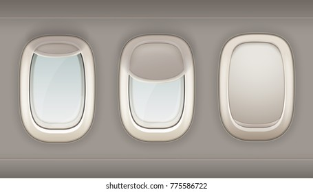 Three realistic portholes of airplane from white plastic with open and closed window shades  illustration
