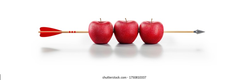 Three red apples hit by wooden arrow - 3D illustration