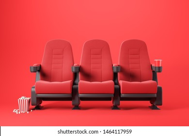 Three red cinema chairs with fizzy drink and box of popcorn over red background. Concept of entertainment. 3d rendering