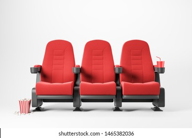 Three red cinema chairs with fizzy drink and box of popcorn over white background. Concept of entertainment. 3d rendering