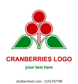 Three red cranberries, bilberries or huckleberries with leaves minimalist logo design concept. Wild forest berries logotype template. Raster design element isolated on white background.