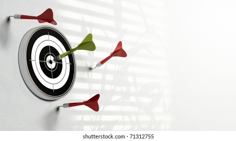 three red darts failed to hit the center of the target and a green dart made the perfect shot image over a white background